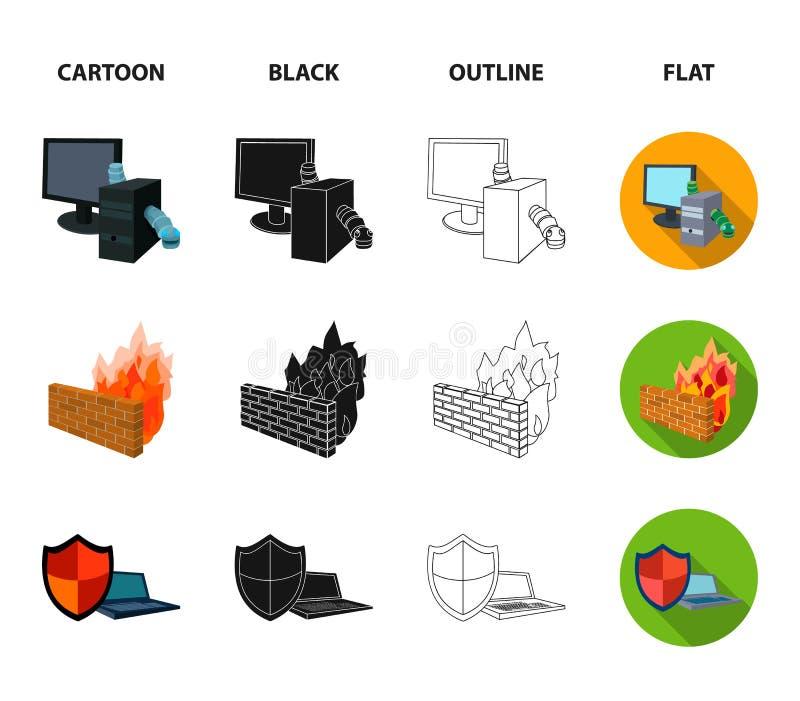 Σύστημα, Διαδίκτυο, σύνδεση, κώδικας Χάκερ και εικονίδια συλλογής χάραξης καθορισμένα στα κινούμενα σχέδια, ο Μαύρος, περίληψη, ε ελεύθερη απεικόνιση δικαιώματος