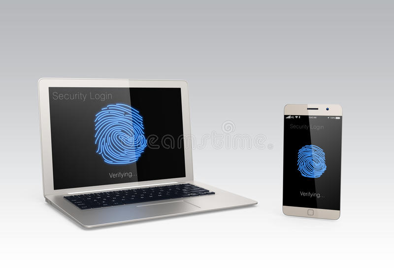 Σύστημα επικύρωσης δακτυλικών αποτυπωμάτων για τις κινητές συσκευές απεικόνιση αποθεμάτων