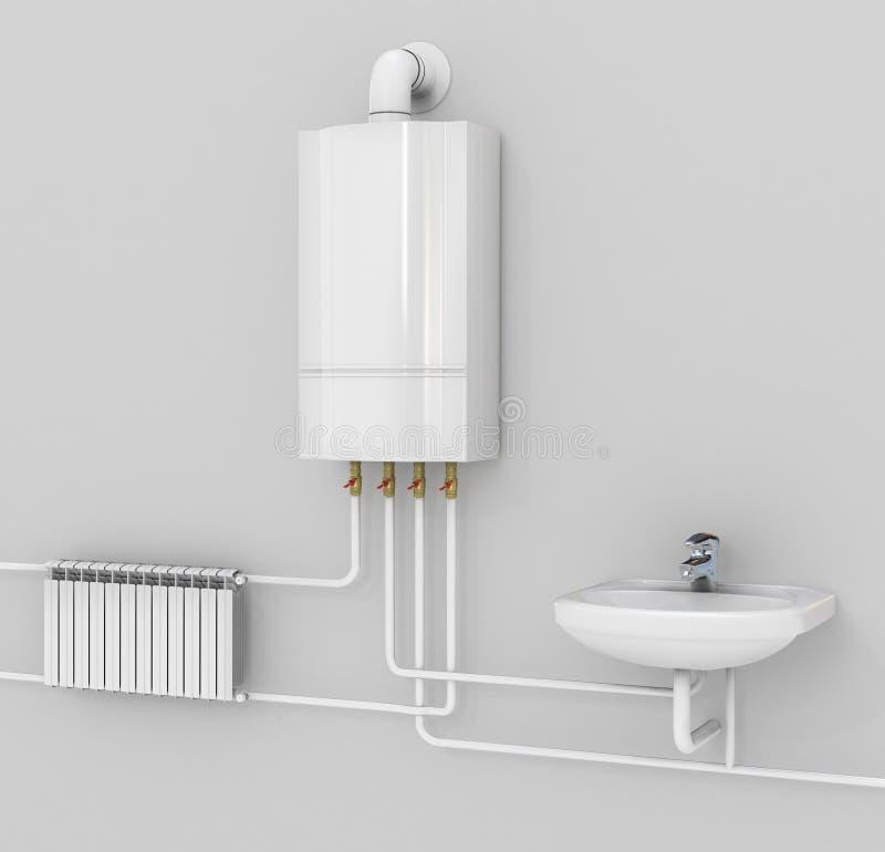 Σύστημα θέρμανσης εξοικονόμησης ενέργειας με τις θερμοστάτες διανυσματική απεικόνιση