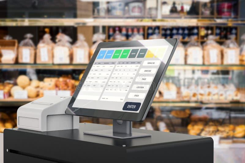 Σύστημα θέσεων πώλησης για τη διαχείριση καταστημάτων διανυσματική απεικόνιση