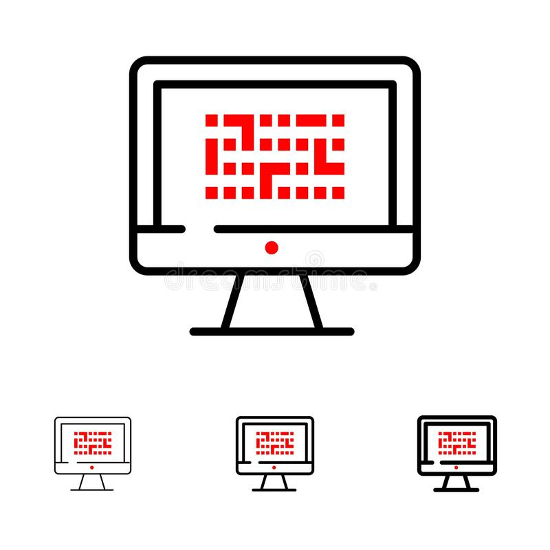 Σύστημα κρυπτογραφία, στοιχεία, Ddos, κρυπτογράφηση, πληροφορίες, τολμηρό και λεπτό μαύρο σύνολο εικονιδίων γραμμών προβλήματος απεικόνιση αποθεμάτων