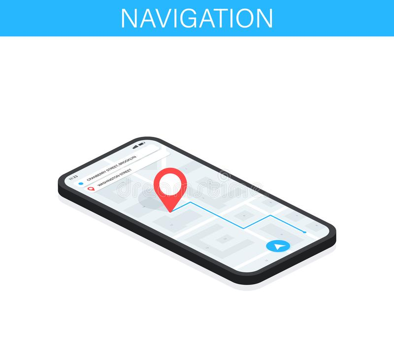 Σύστημα ναυσιπλοΐας ΠΣΤ Κινητή εφαρμογή για τη ναυσιπλοΐα Ιχνηλάτης smartphone ΠΣΤ Σημάδι στο χάρτη App έννοια διεπαφών διανυσματική απεικόνιση
