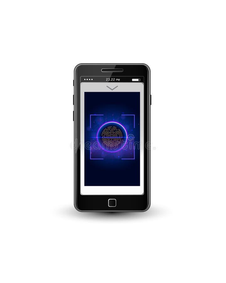 Σύστημα προσδιορισμού ανίχνευσης δακτυλικών αποτυπωμάτων Βιομετρική έγκριση στο κινητό τηλέφωνο διανυσματική απεικόνιση