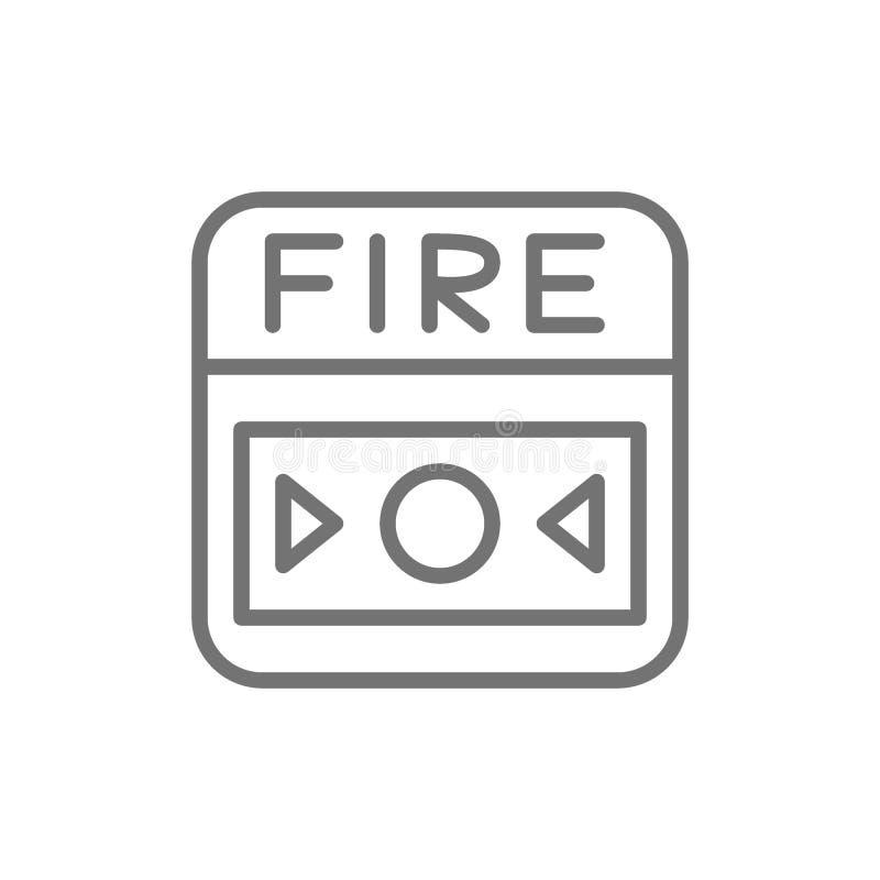 Σύστημα συναγερμών πυρκαγιάς, εικονίδιο γραμμών κουμπιών η ανασκόπηση απομόνωσε το λευκό απεικόνιση αποθεμάτων