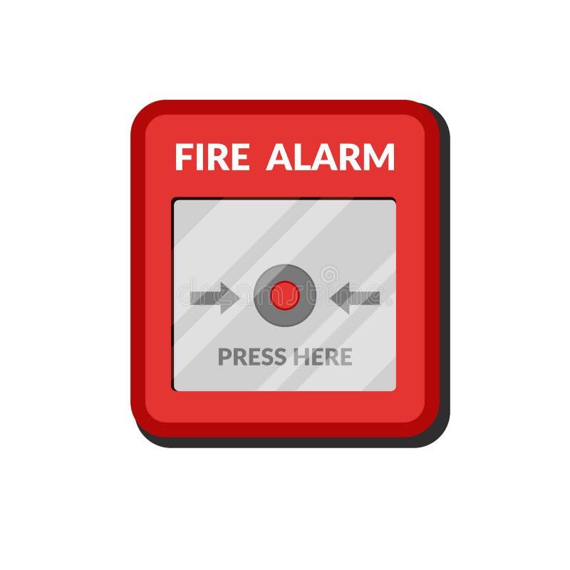 Σύστημα συναγερμών πυρκαγιάς Πιέστε το παράθυρο πυρασφάλειας κουμπιών Κόκκινος ανιχνευτής εξοπλισμού συναγερμών σπασιμάτων Διανυσ απεικόνιση αποθεμάτων