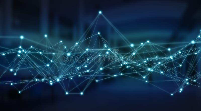 Σύστημα συνδέσεων και τρισδιάστατη απόδοση ανταλλαγών datas διανυσματική απεικόνιση