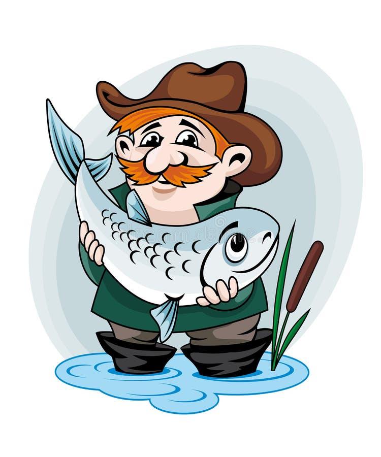 Σύλληψη ψαράδων ένα ψάρι ελεύθερη απεικόνιση δικαιώματος