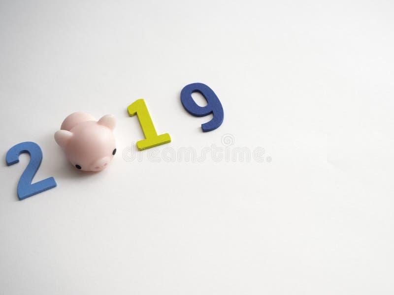 Σώζοντας έννοια αριθμού 2019 Piggy ζωηρόχρωμη ξύλινη στοκ φωτογραφία με δικαίωμα ελεύθερης χρήσης