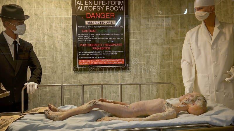 Σώμα του αλλοδαπού θύματος ατυχήματος στο διεθνή μουσείο UFO και το Ρ στοκ εικόνα με δικαίωμα ελεύθερης χρήσης