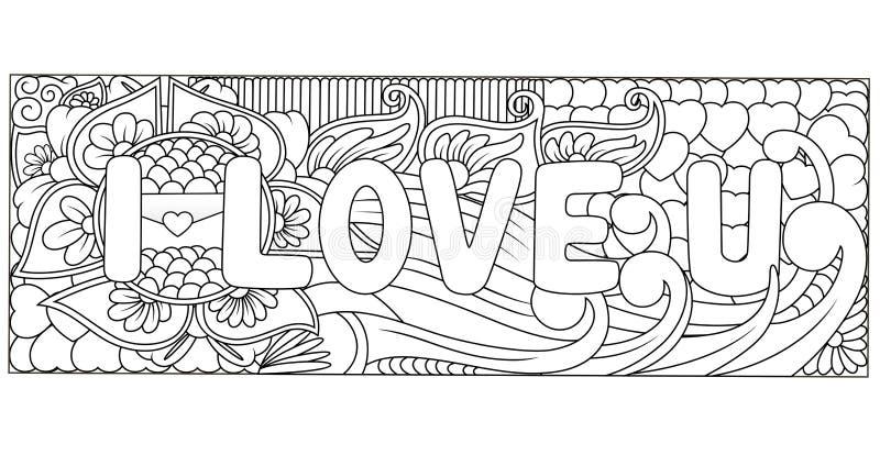 Σ' αγαπώ εγγραφή και doodles στοιχεία χεριών διανυσματική απεικόνιση