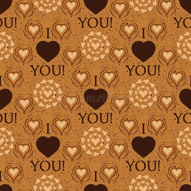 Σ' αγαπώ η αιχμηρή διανυσματική άνευ ραφής κάρτα υποβάθρου σχεδίων καρδιών κειμένων όμορφη γιορτάζει τις φωτεινές διακοπές συμβόλ απεικόνιση αποθεμάτων