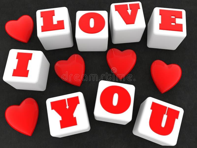 Σ' αγαπώ και κόκκινη έννοια καρδιών στους άσπρους κύβους απεικόνιση αποθεμάτων