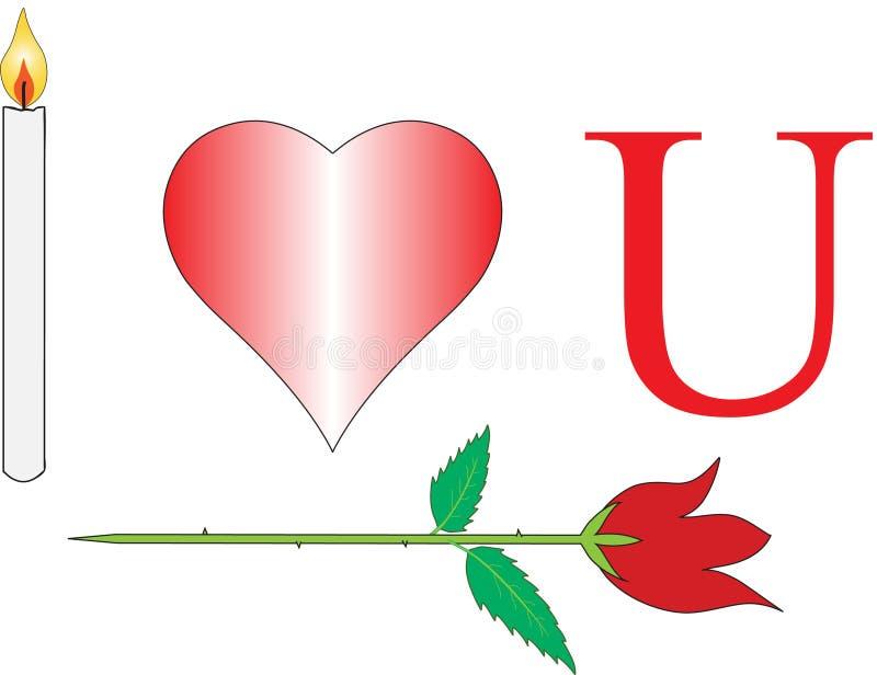 Σ' αγαπώ με ροδαλό και το κερί στοκ εικόνα
