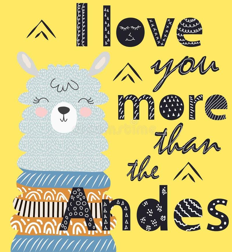 Σ' αγαπώ περισσότερο από τις Άνδεις Σκανδιναβική αφίσα ύφους στοκ εικόνες