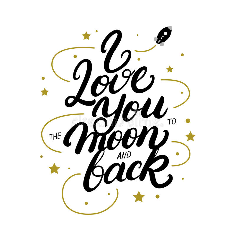 Σ' αγαπώ στο φεγγάρι και την πίσω γραπτή χέρι γράφοντας αφίσα διανυσματική απεικόνιση