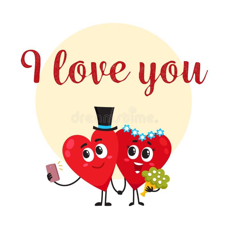 Σ' αγαπώ - σχέδιο ευχετήριων καρτών με τους χαρακτήρες καρδιών που έχουν το γάμο διανυσματική απεικόνιση