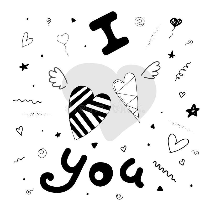 Σ' αγαπώ Χαριτωμένη κάρτα με τις καρδιές, τα φτερά και τα χαριτωμένα στοιχεία διανυσματική απεικόνιση