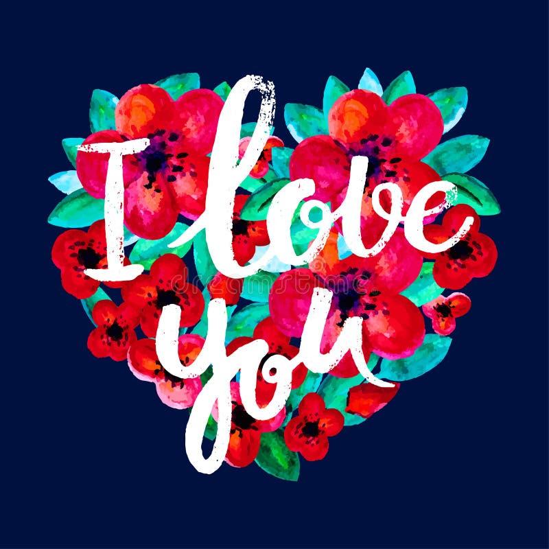 Σ' αγαπώ - χειρόγραφη εγγραφή με τα λουλούδια ελεύθερη απεικόνιση δικαιώματος