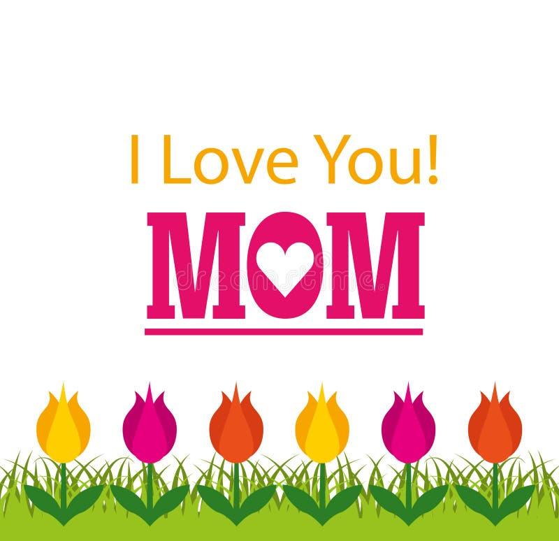 Σ' αγαπώ mom κάρτα διανυσματική απεικόνιση