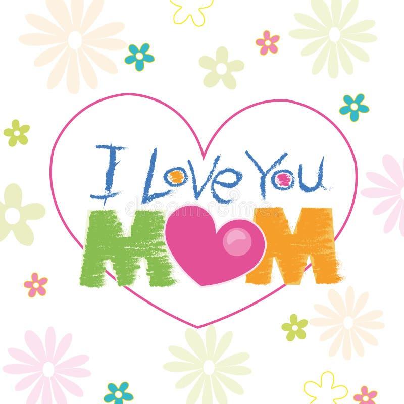 Σ' αγαπώ mom doodle με τη ευχετήρια κάρτα λουλουδιών διανυσματική απεικόνιση