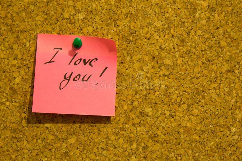 Σ' αγαπώ post-it σημείωση στοκ φωτογραφία