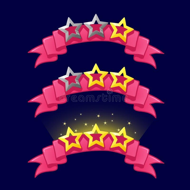 Τάξη αστεριών κινούμενων σχεδίων στη ρόδινη κορδέλλα για το σχέδιο παιχνιδιών διανυσματική απεικόνιση
