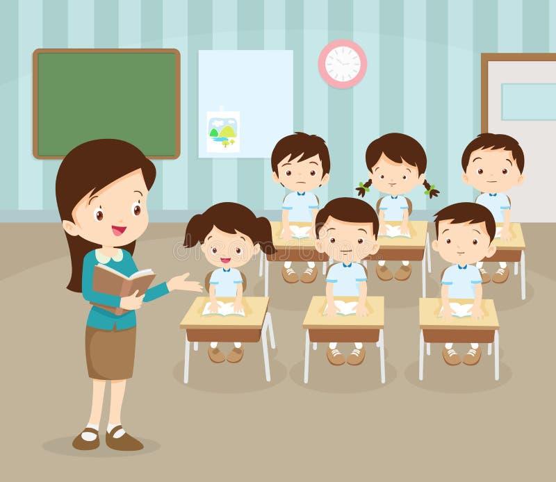 Τάξη με το δάσκαλο και τους μαθητές απεικόνιση αποθεμάτων