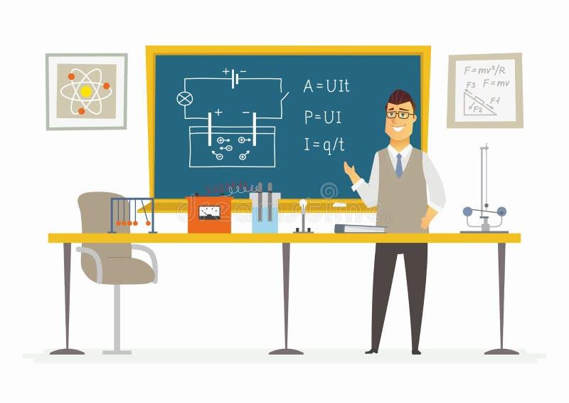 Τάξη φυσικής - αρσενική σύνθεση δασκάλων στον πίνακα ελεύθερη απεικόνιση δικαιώματος