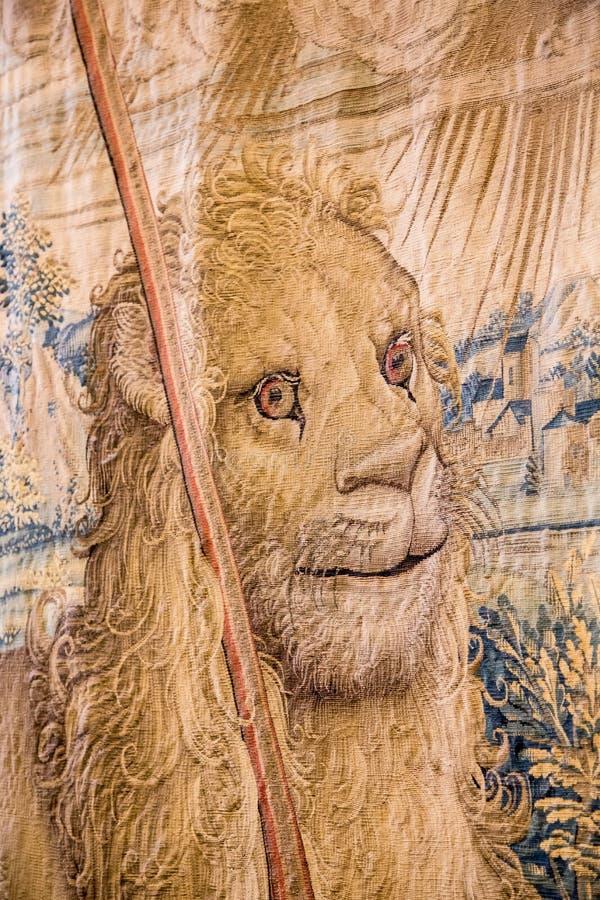 Τάπητας με το αρσενικό λιοντάρι σε Βατικανό στοκ φωτογραφίες