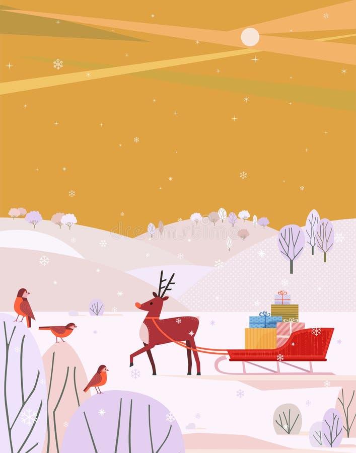 Τάρανδος με το έλκηθρο Santa απεικόνιση αποθεμάτων