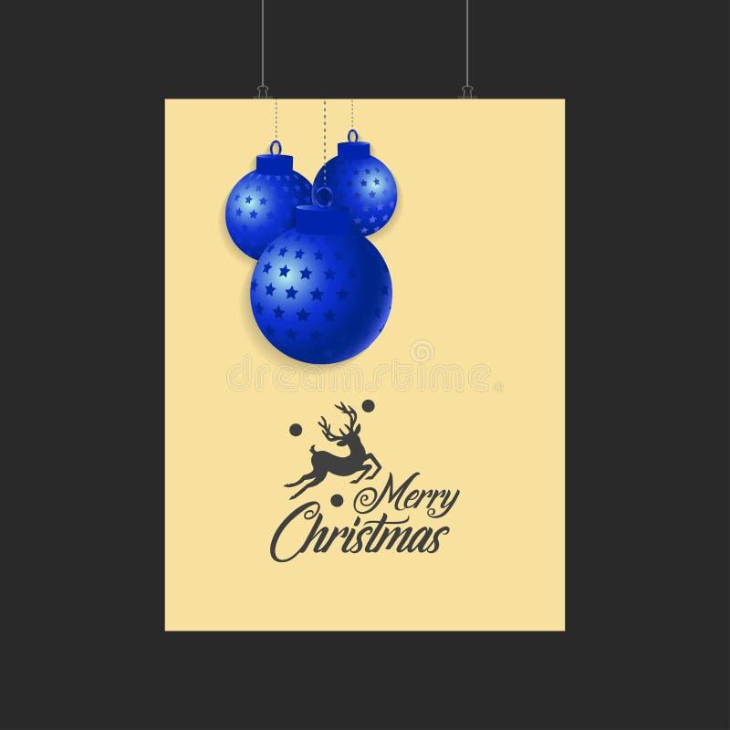 Τάρανδος Χαρούμενα Χριστούγεννας και μπλε πρότυπο σφαιρών διανυσματική απεικόνιση