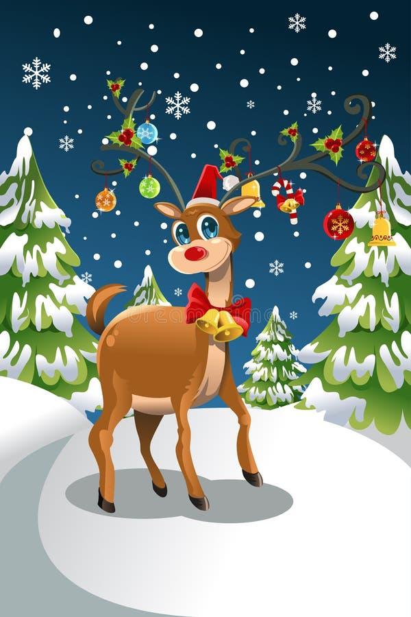 τάρανδος Χριστουγέννων διανυσματική απεικόνιση