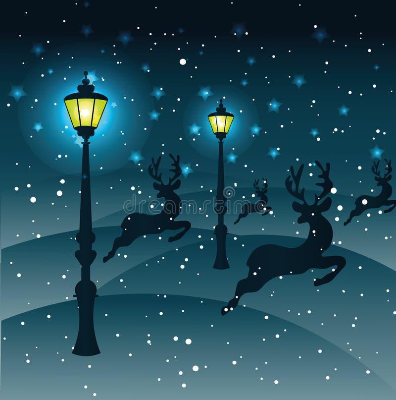 Τάρανδοι τρεξίματος μέσω του χιονιού, φως από τους λαμπτήρες οδών, υδρονέφωση διανυσματική απεικόνιση