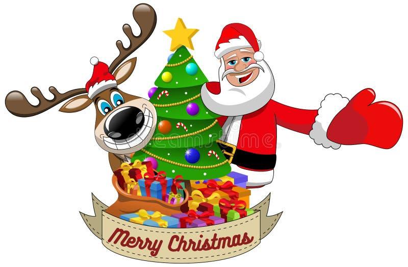 Τάρανδος Άγιος Βασίλης που επιθυμεί διακοσμημένο το Χαρούμενα Χριστούγεννα χριστουγεννιάτικο δέντρο ελεύθερη απεικόνιση δικαιώματος