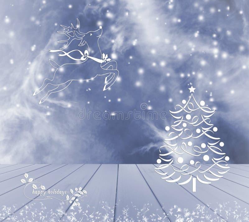 Τάρανδος και χιόνι χριστουγεννιάτικων δέντρων στο μπλε υπόβαθρο Μπλε κενός ξύλινος πίνακας έτοιμος για το montage επίδειξης προϊό στοκ εικόνα με δικαίωμα ελεύθερης χρήσης