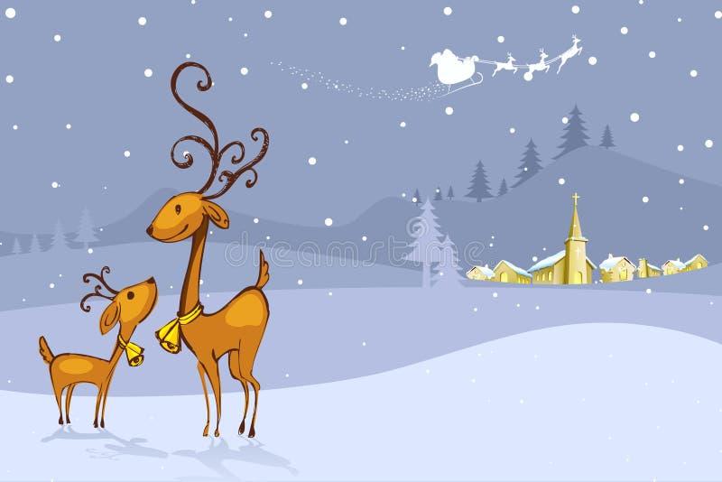 Τάρανδος στη νύχτα Χριστουγέννων απεικόνιση αποθεμάτων