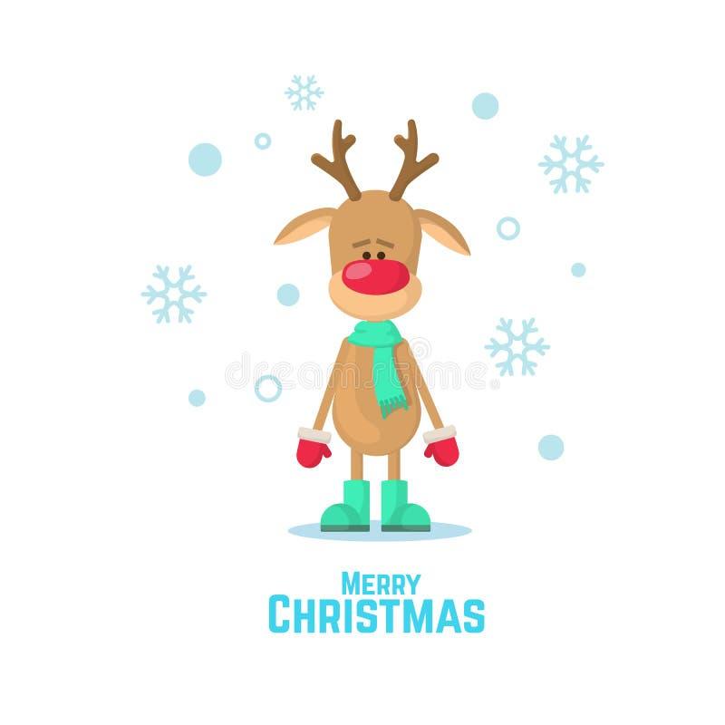 Τάρανδος Χριστουγέννων σε ένα πράσινο μαντίλι Διανυσματική απεικόνιση ενός ταράνδου που απομονώνεται στο άσπρο υπόβαθρο ελεύθερη απεικόνιση δικαιώματος