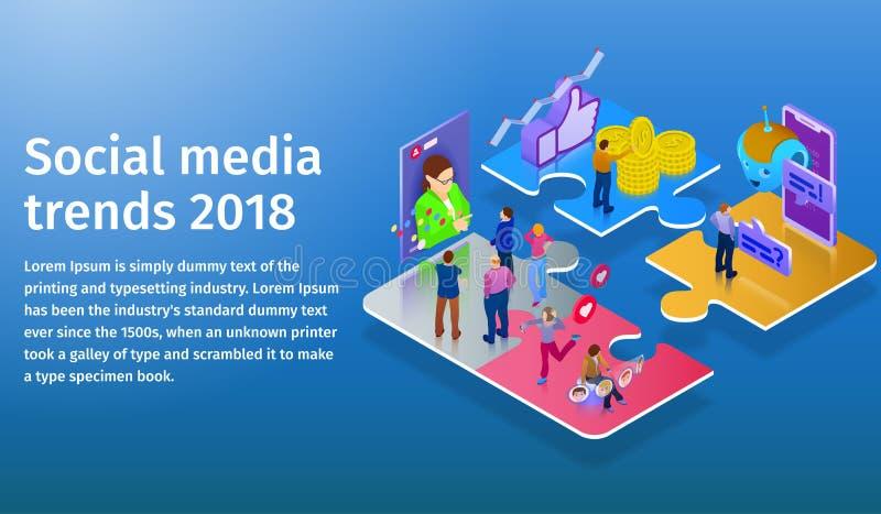 Τάσεις στα κοινωνικά μέσα 2018 Chatbot, τηλεοπτική ραδιοφωνική μετάδοση, ιστορίες, προώθηση SMM, σε απευθείας σύνδεση analytics Ά στοκ φωτογραφία