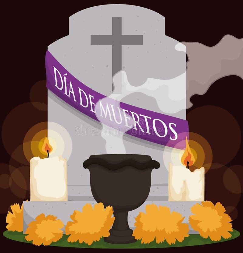Τάφος με τα λουλούδια, το κερί και το θυμίαμα για & x22 Dia de Muertos& x22 , Διανυσματική απεικόνιση απεικόνιση αποθεμάτων