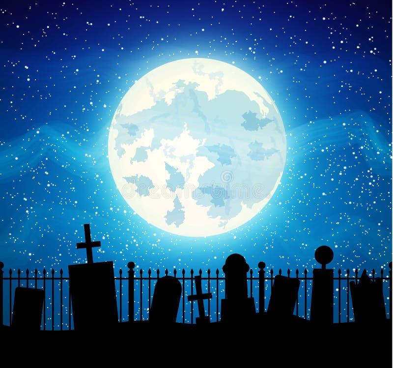 Τάφος νεκροταφείων νεκροταφείων με το φεγγάρι ανόητων ελεύθερη απεικόνιση δικαιώματος