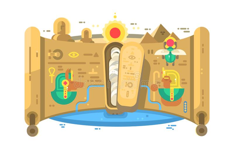 Τάφος του αιγυπτιακού pharaoh στις πυραμίδες διανυσματική απεικόνιση