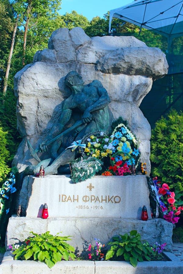 Τάφος του ουκρανικού συγγραφέα, ποιητής, συγγραφέας, επιστήμονας, πολιτικός αρθρογράφος Ivan Franko στο νεκροταφείο Lychakiv σε L στοκ εικόνα