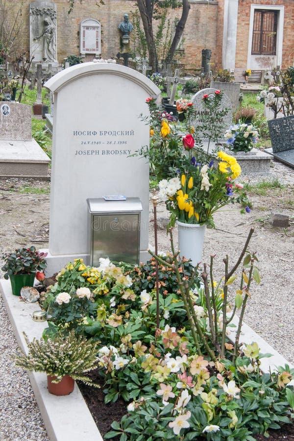 Τάφος του Joseph Brodsky, νεκροταφείο SAN Michele, Βενετία, Ιταλία στοκ εικόνες