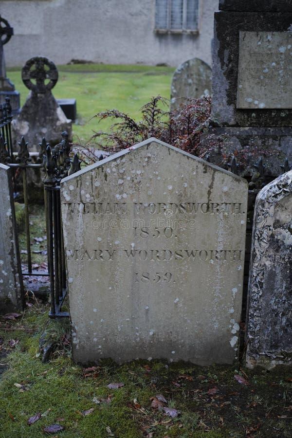 Τάφος του William Wordsworth στην εκκλησία κοινοτήτων Gasmere στοκ φωτογραφία