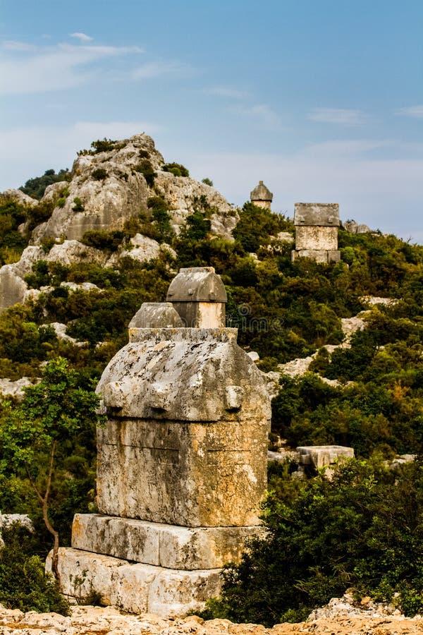 Τάφος Lycian στο αρχαίο νεκροταφείο σε Simena στοκ εικόνες