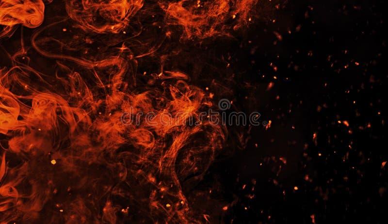 Τέλεια εκλεκτής ποιότητας σύσταση με τις χοβόλεις σπινθηρίσματος μορίων πυρκαγιάς στο υπόβαθρο Σύσταση για το έμβλημα, το ιπτάμεν στοκ εικόνα με δικαίωμα ελεύθερης χρήσης