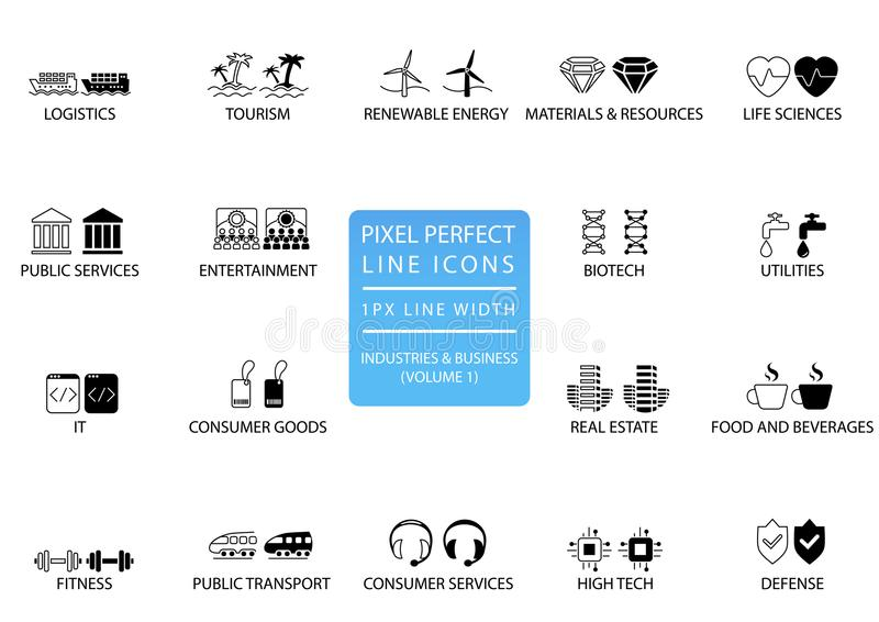 Τέλεια λεπτά εικονίδια γραμμών εικονοκυττάρου και σύμβολα των διάφορων βιομηχανιών/των επιχειρηματικών τομέων όπως τις δημόσιες υ απεικόνιση αποθεμάτων