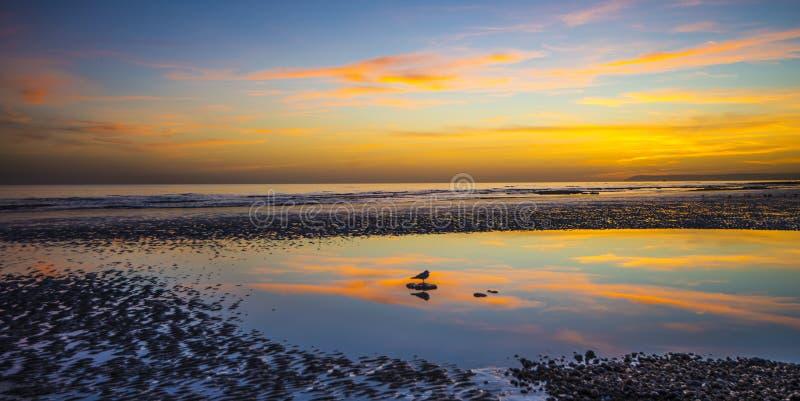 Τέλειες ειρήνη και ηρεμία - που προσέχουν το ηλιοβασίλεμα πέρα από την παραλία Bexhill at low tide στοκ εικόνες