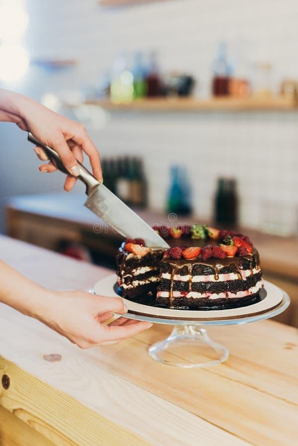 Τέμνον κέικ σοκολάτας γυναικών στοκ εικόνες