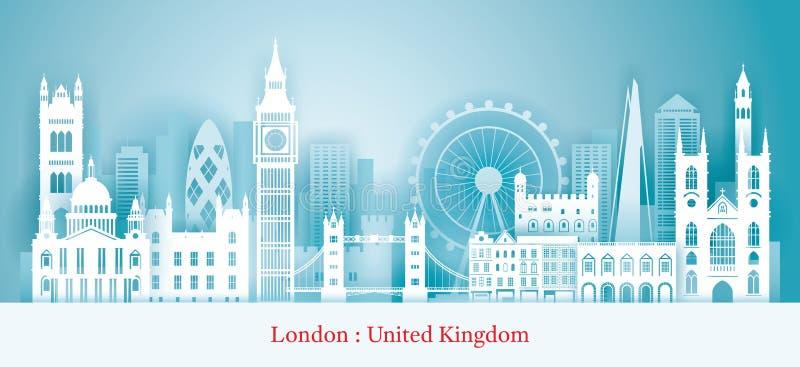 Τέμνον ύφος εγγράφου οριζόντων ορόσημων του Λονδίνου, Αγγλία διανυσματική απεικόνιση